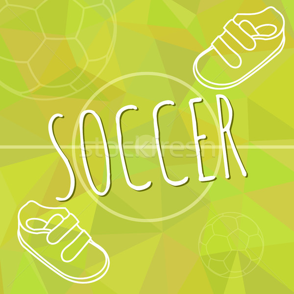 Template for advertising brochure with a sneakers and soccer ball on a green spring trendy polygonal Stock photo © JeksonGraphics