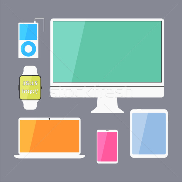 Modern business ui devices set - display, digital tablet, mobile devices, smart watch, music player, Stock photo © JeksonGraphics