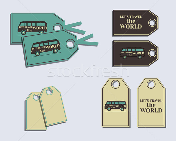 Travel and Camping brand identity labels - stickers. Rv park and campground. Triangle abstract style Stock photo © JeksonGraphics