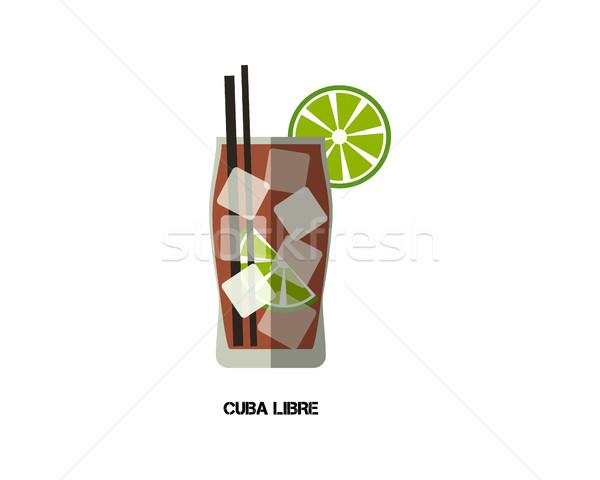 Куба коктейль современных дизайна изолированный белый Сток-фото © JeksonGraphics
