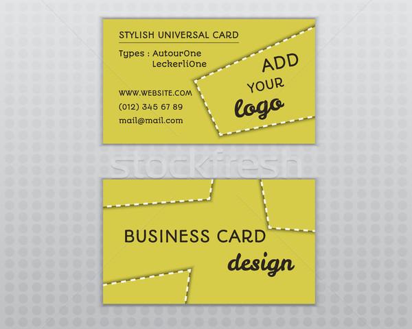 Verano amarillo elegante tarjeta de visita plantilla insólito Foto stock © JeksonGraphics