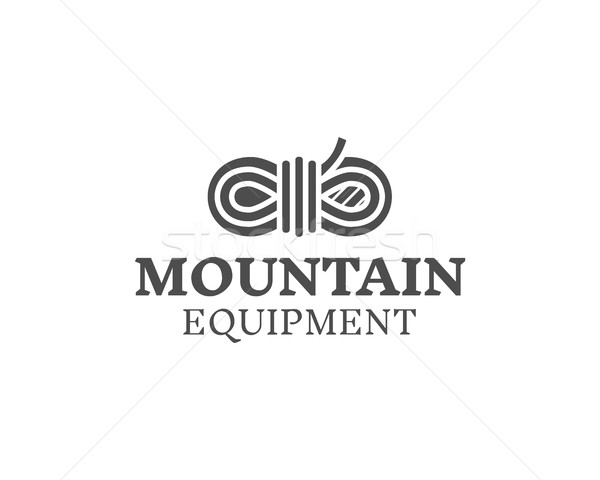 Mountain equipment badge, outdoors logo, emblem and label. Explorer concept, monochrome design. Best Stock photo © JeksonGraphics