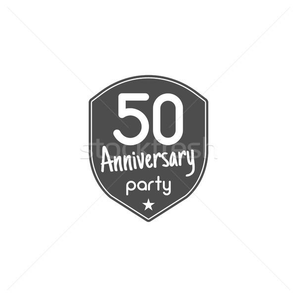 50 años aniversario placa signo emblema cinta Foto stock © JeksonGraphics