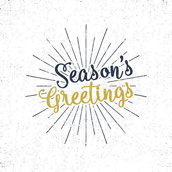 Christmas greetings lettering, holiday wish, saying and vintage label. Season's greetings calligraph Stock photo © JeksonGraphics