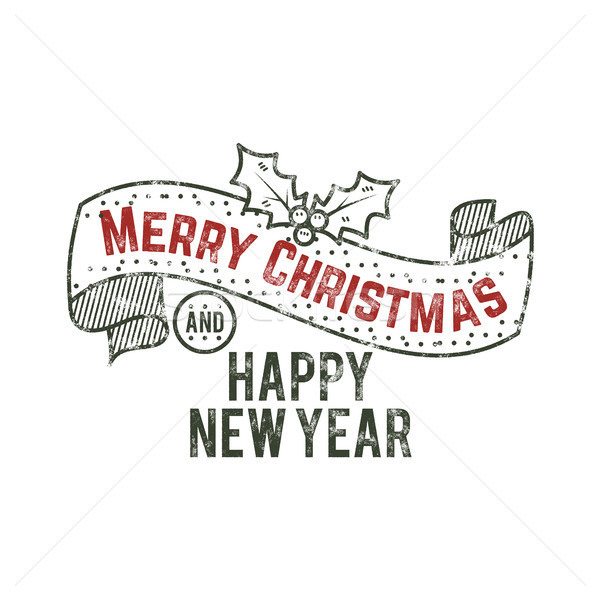 Merry Christmas and happy New Year typography wish sign. illustration of calligraphy label. Use for  Stock photo © JeksonGraphics