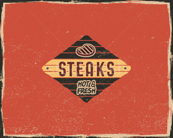 Steak house typography poster template in retro old style. Offset and letterpress design. Letter pre Stock photo © JeksonGraphics