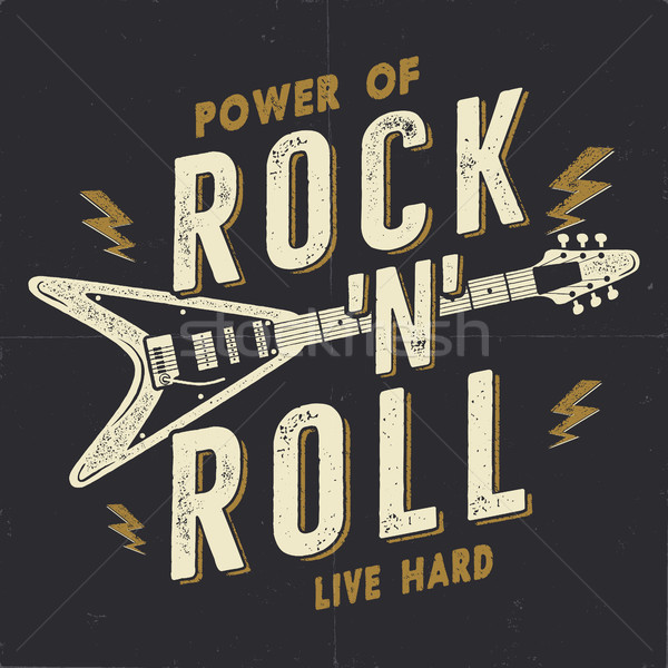 Vintage Hand Drawn Rock n Roll Poster, Rock Music Poster. Hard Music Tee Graphics Design. Rock Music Stock photo © JeksonGraphics