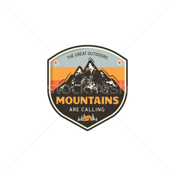 Travel logo design concept. Retro colors style. Mountain adventure badge, travel logo template. Camp Stock photo © JeksonGraphics