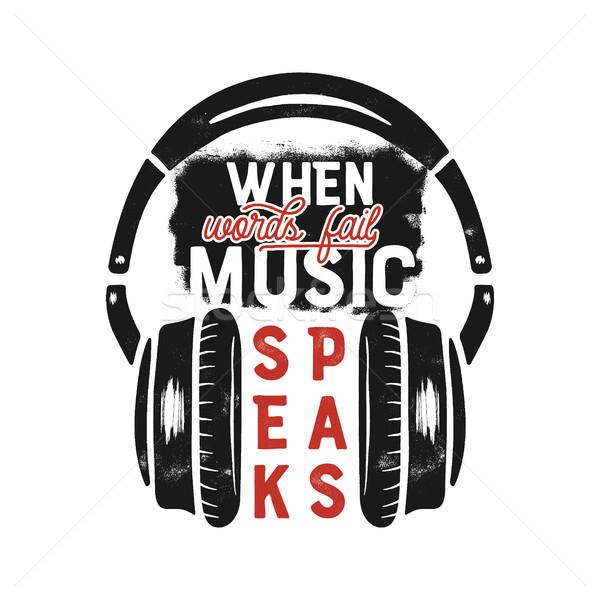 Foto stock: Música · design · gráfico · cartaz · inspirado · citar · fones · de · ouvido