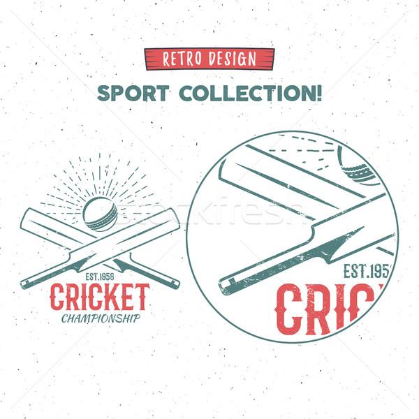 Retro cricket vector logo icon design. Vintage Cricket emblem design. Cricket badge. Sports tee desi Stock photo © JeksonGraphics