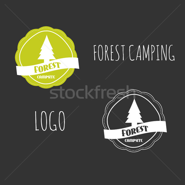 Forest Camping wilderness adventure badge graphic design. Summer vintage logo emblem. On black backg Stock photo © JeksonGraphics