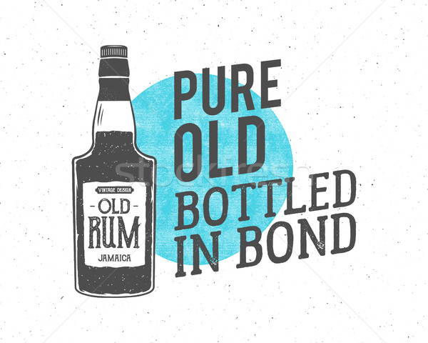 Vintage handcrafted motivation label, emblem. slogan - pure old bottled in bond. Sketching filled st Stock photo © JeksonGraphics