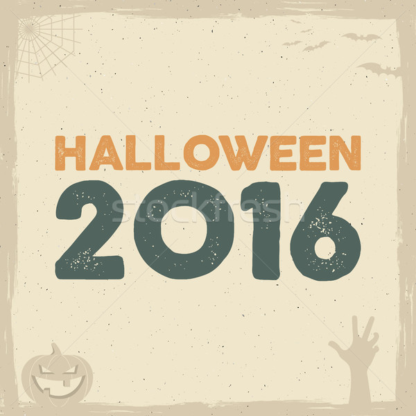 Happy Halloween Poster template with holiday symbols - bat, pumpkin, hand, witch hat, spider web and Stock photo © JeksonGraphics
