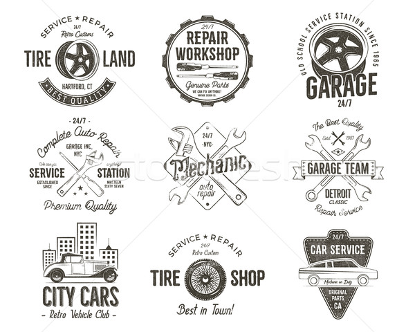 Stock photo: Vintage car service badges, garage repair labels and insignias collection. Retro colors design. Good