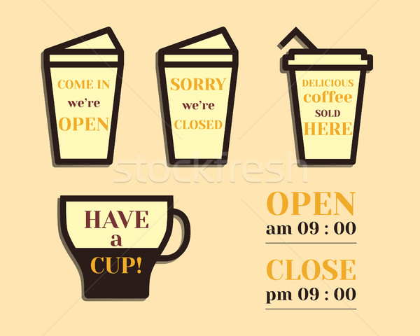 Coffee signs. Open and Closed elements. Fathers Day theme. Flat design. Best for thematic party. Iso Stock photo © JeksonGraphics