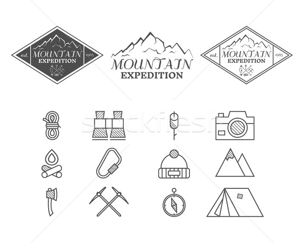 Set of monochrome mountain camp badge, logo and label and icon templates. Travel, hiking, climbing s Stock photo © JeksonGraphics