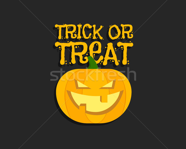 Trick or treat. Halloween poster with hand lettering and pumpkin. Flat design on dark background. Ve Stock photo © JeksonGraphics