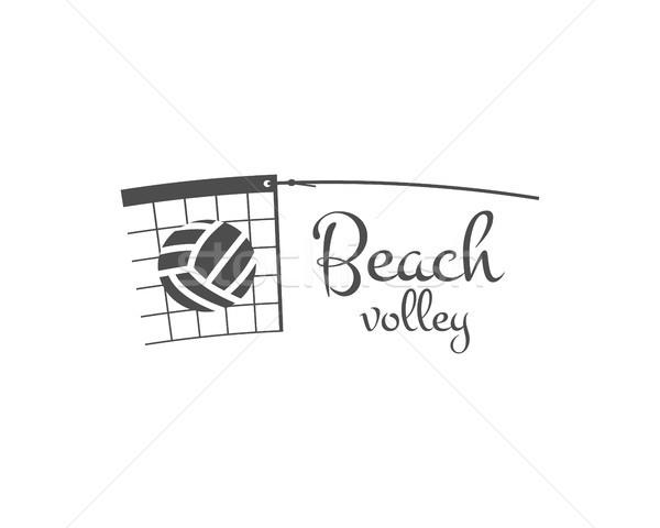 Foto stock: Playa · voleibol · etiqueta · placa · logo · icono