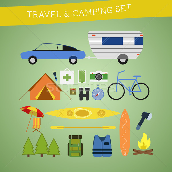 Bright cartoon travel and camping equipment icon set in vector. Recreation, vacation and sport symbo Stock photo © JeksonGraphics