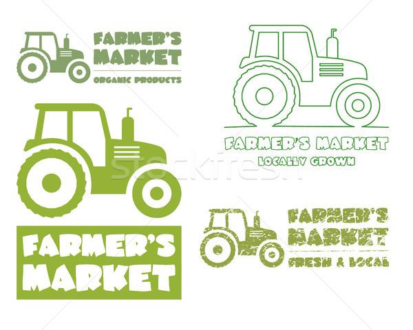 Set of Tractor logo design template. harvest or farm icon. Thin line, silhouette design. Organic far Stock photo © JeksonGraphics