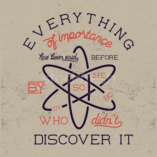 Bağbozumu bilim poster hukuk atom ikon Stok fotoğraf © JeksonGraphics