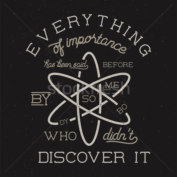 Vintage ciencia anunciante ley átomo icono Foto stock © JeksonGraphics