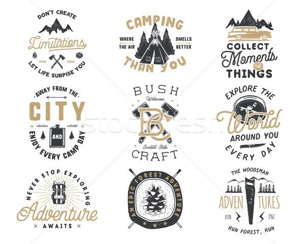 Vintage viajar distintivo emblema conjunto Foto stock © JeksonGraphics