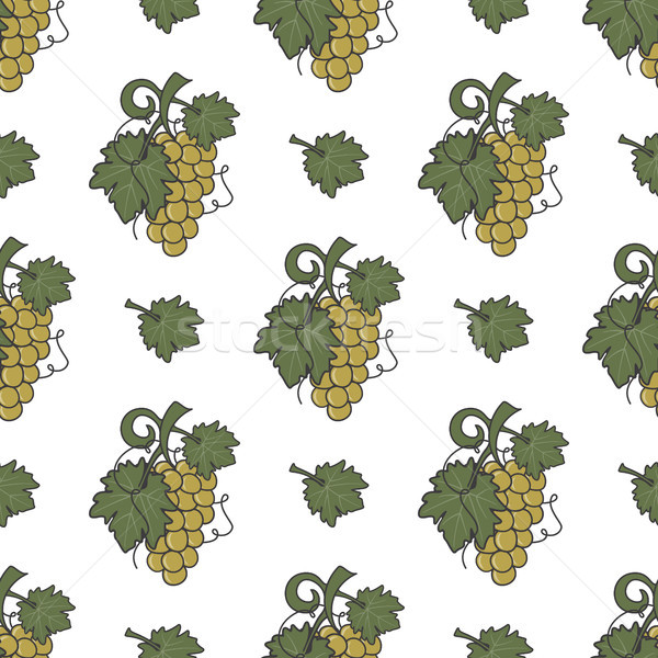 Grape vine and leaf icons seamless wallpaper. Wine cover pattern. Cute retro colors. Good for winery Stock photo © JeksonGraphics