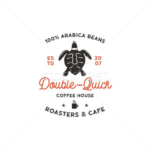 Kafe logo şablon kaplumbağa fincan siluet Stok fotoğraf © JeksonGraphics