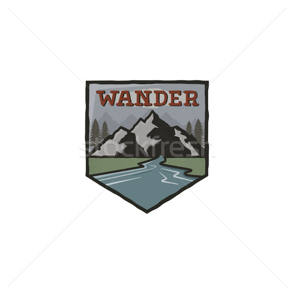 Mountain vintage badge. Mountain explorer label. Outdoor adventure logo design with mountains and wa Stock photo © JeksonGraphics