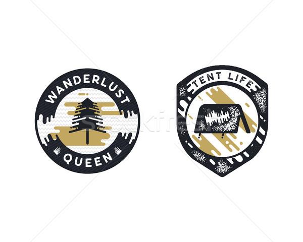 Vintage hand drawn adventure themed retro badges. Wanderlust logos are perfect for T-Shirts, mugs, p Stock photo © JeksonGraphics