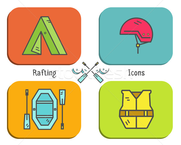 Rafting equipment flat icon, button collection. Outdoors style, bright color design. Stylish element Stock photo © JeksonGraphics