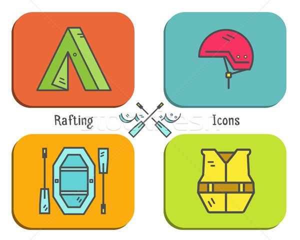 Rafting icono botón colección aire libre Foto stock © JeksonGraphics