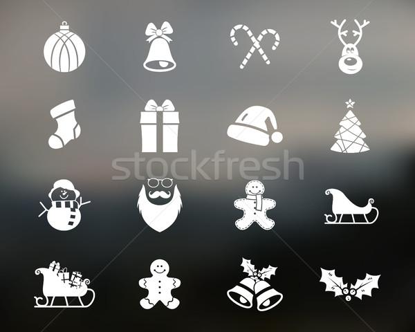 Stockfoto: Christmas · gelukkig · nieuwjaar · winter · iconen · collectie · ingesteld