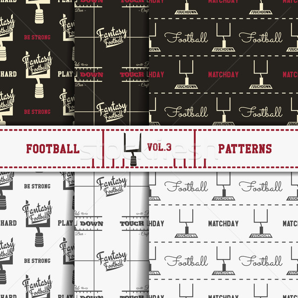 Set of american football patterns. Usa sports seamless background collection. Sport wallpaper with g Stock photo © JeksonGraphics