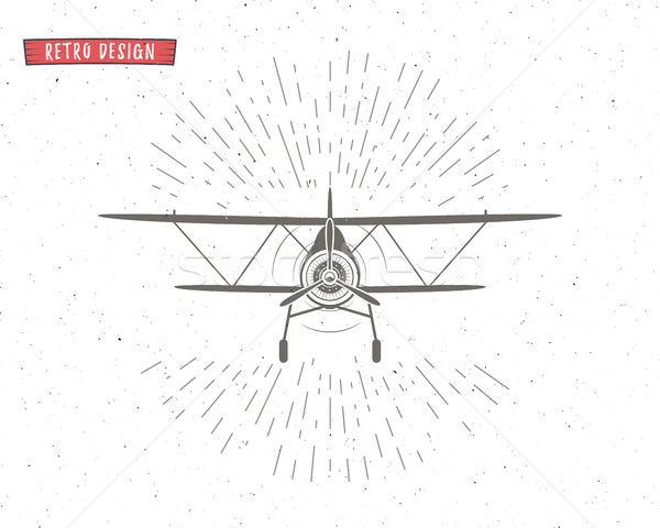 Klasszikus repülőgép repülés embléma kétfedelű repülőgép címke Stock fotó © JeksonGraphics