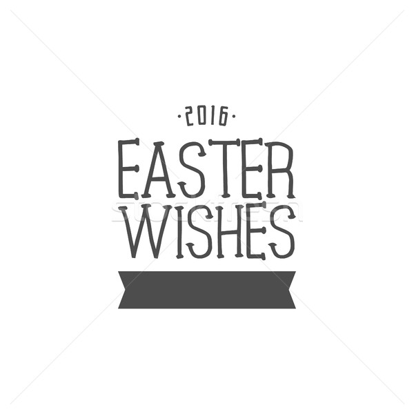 Easter wishes sign - Happy Easter. Easter wish overlay, lettering label design. Retro holiday badge. Stock photo © JeksonGraphics