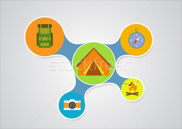 Camping ontwerp grafische stijl outdoor Stockfoto © JeksonGraphics
