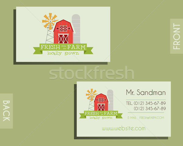 Eco, organic visiting card template. For natural shop, farm products and other bio, organic business Stock photo © JeksonGraphics