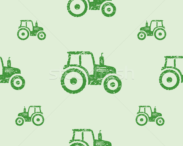 Natural products seamless pattern, farm fresh, eco design. Green tractor. Vector Stock photo © JeksonGraphics