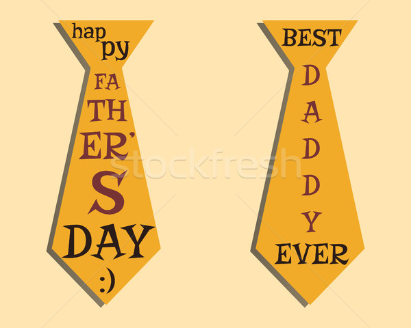 Happy Fathers Day elements. Orange Tie and lettering inside. Best for thematic party. Isolated on br Stock photo © JeksonGraphics