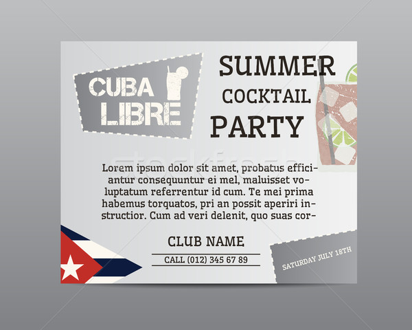 Zomer cocktail party poster lay-out sjabloon Cuba Stockfoto © JeksonGraphics