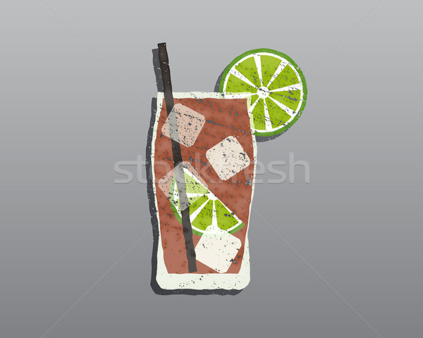 Stock photo: Cuba Libre cocktail with. Fresh grunge design with slice of lime and shadow. Isolated On stylish gre