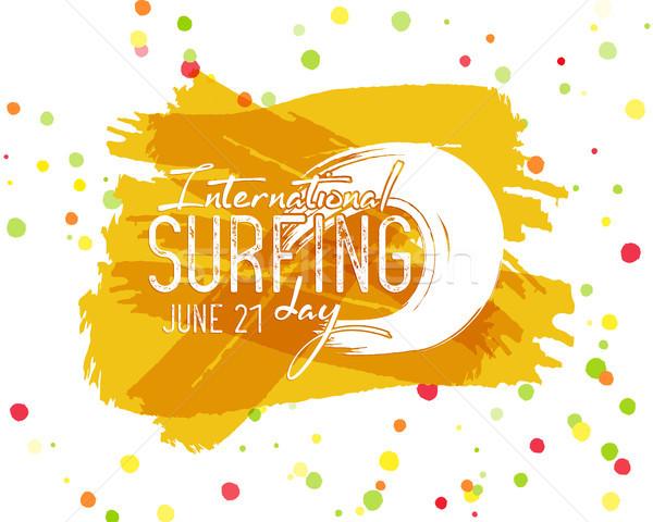 Surf giorno etichetta grafica elementi vacanze Foto d'archivio © JeksonGraphics