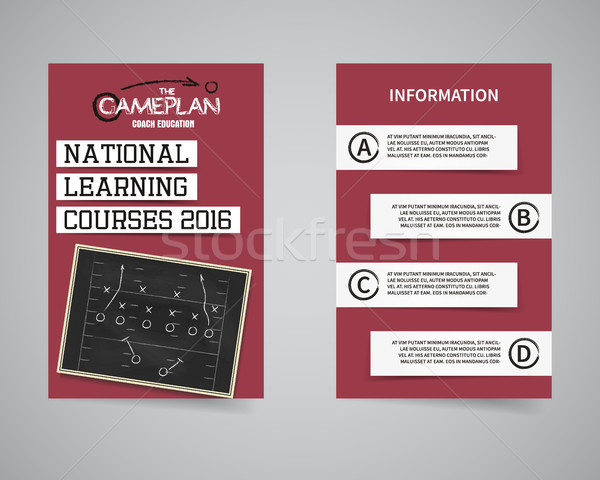 American football coach courses back and front flyer template design. Usa Sport brand identity lette Stock photo © JeksonGraphics