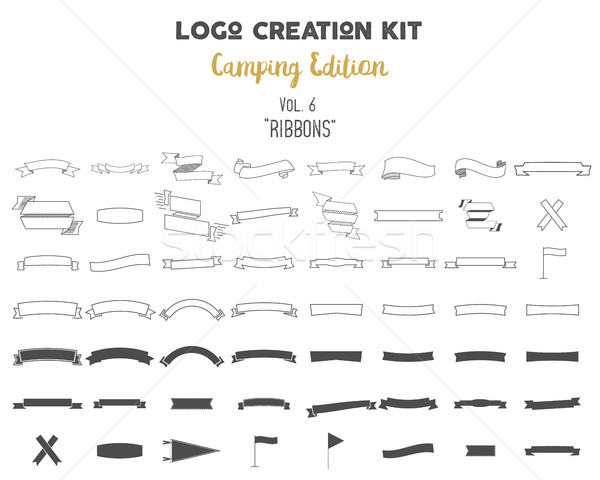 Stock photo: Logo creation kit bundle. Camping Edition set. Ribbons vector shapes and elements Create your own ou