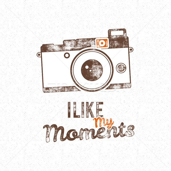 Retro poster with old camera icon and vector text - i like my moments. Isolated on grunge halftone b Stock photo © JeksonGraphics