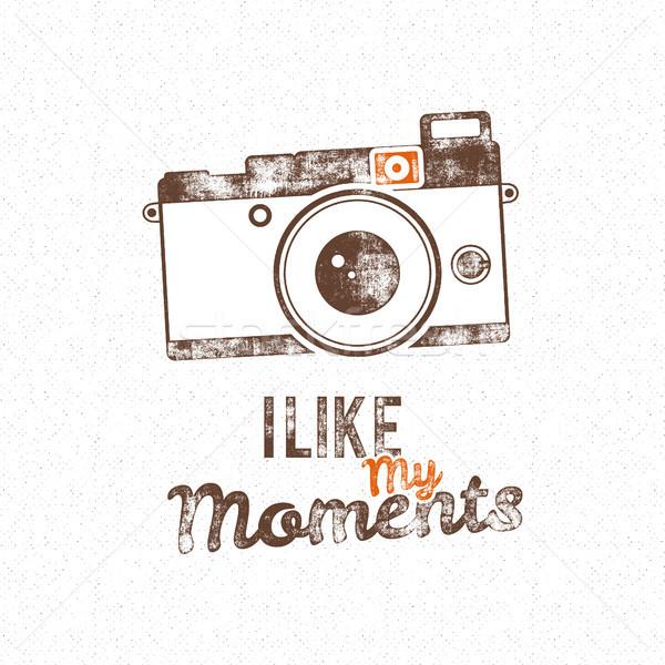 Retro poster oude camera icon vector Stockfoto © JeksonGraphics