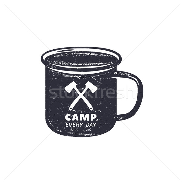 Hand drawn camping mug shape label with motivational quote - Camp every day. Outdoor activity badge. Stock photo © JeksonGraphics