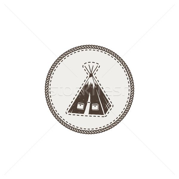 Tenda ícone adesivo vintage Foto stock © JeksonGraphics